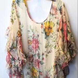 Johnny was watercolor floral lace top XL